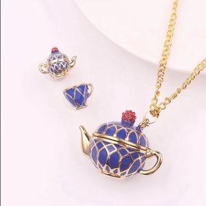Jewelry - CUTE TEAPOT & TEA CUP BLUE NECKLACE EARRINGS SET
